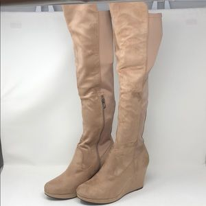 New Tan Chinese Laundry Platform Wedge Boots 10